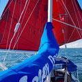 Heading downwind into the Lilliebaelt, sailing through the sund