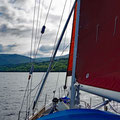 Sailing against the wind up Loch Lochy