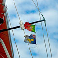 Flying the Portuguese and Azores flags