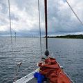 Leaving the river of Sligo and heading down the narrow channel in the bay of Sligo