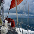 Tacking through the shoals and islands against 25 knots of wind