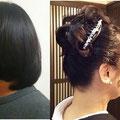 こんな短い髪(左)でも、アップスタイル(右)に