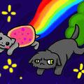 xDD Mir war einfach danach diese Nyan Cat mit der anderen hässlichen Katze zu malen :D Diese Katze ist nur dich ein Smiley entstanden erinnert ich aber irgendwie an die Heilerin aus dem Donnerclan GELBZAHN! XD