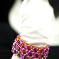 Pink/Silver/Orange 3-row J-Lace on Leather Cuff