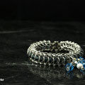 Stainless Blue with clear beads and dangle