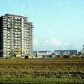 Erstes Hochhaus am Bergl im März 1960
