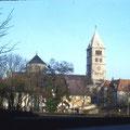 Heilig-Geist-Kirche gesehen vom Schillerplatz im Februar 1959