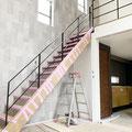 階段手摺とフェンスのジョイント部分