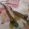 PCA010 pendientes cadenas y cuentas bronce y cristal