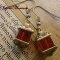 PC139 bronce y  cuentas cúbicas rojas