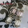 PC041 Cuentas lampwork blanco y rosa