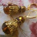 PD008 Pendientes dorados estilo barroco, largo 4cm