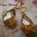 PD015 Pendientes dorados lágrima cristal grande
