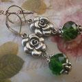 PF021 rosas y cristal verde, 5cm,