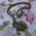 C026 Gargantilla corazón candado y llave. Largo aprox cadena 45cm