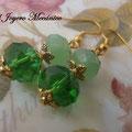 PD006 Pendientes dorados con cuentas facetadas de cristal en verde transparente y opaco. 4cm.