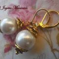 PP008 Pendientes perlas y dorado, 4cm, 2,00 euros