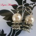 PP003 Pendientes perlas y metal. Largo aprox. 4cm. 2,00 euros