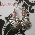 PR003 Pendientes reloj y cuenta rosa. Largo aprox. 5cm