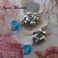 PF022 rosas y cristal azul, 5cm,