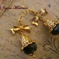PD016 Pendientes barrocos con lazo y cuenta negra