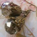 PC103 bronce y cuenta facetada gris-marrón grande, 4cm