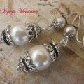 PP004 Pendientes perlas y metal. Largo 5cm. 3,00 euros
