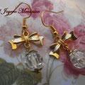 PD011 Pendientes dorados lazo y cuenta cristal