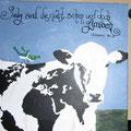 Kuh mit Weltkartenmuster (2008) / Bild verkauft
