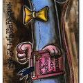 Rat de bibliothèque- Leseratte/ Gemälde-Collage/ 20x60 cm