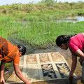 Nettoyage des tissus dans la rivière jouxtant l'atelier afin d'éliminer l'excès de mordant.