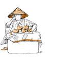 Selling bread rolls is a tiring job! Vietnam.