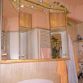 Spiegelschrank Birke massiv mit beleuchtetem Oberboden