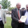 Südmährische Urkunde u. Ehrennadel in Gold für Josef Pavlovic