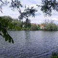 Blick über den Teich zu den Kellern