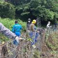 8月8日、江里山集落のワイヤーメッシュ点検作業に参加
