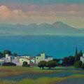 LAUTRAKI HARBOUR. GREECE 2008 (pasteboard,oil on canvas) 36x70