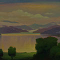 THE PFEVA-TAL MOUNTAINOUS LAKE 2003 (pasteboard,oil on canvas) 30x70