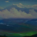 ANNAPURNA CREST (ANNAPURNA-MEANS MT. YIELDING ABUNDANCE) 2003 (pasteboard, oil on canvas) 47x70