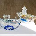 Boot, 2-teilig, Glasobjekt Glas geblasen geformt 26 * 15 * 9 cm