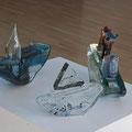 Boot, 3-teilig, Glasobjekt, Glas geblasen geformt 27 * 35 * 9 cm Leihpreis 320.-- Euro, Kaufpreis 3200.-- Euro