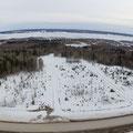 Аэрофотосъемка местности под застройку ИЖС. Склеенная панорами из нескольких фотографий. Разрешение 30 Мп.