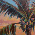 COCONUT PALM SUNSET  --- 36x24 --- OIL