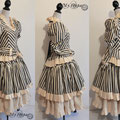 Commande My Oppa Steampunk striped dress costume special order
