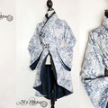 Commande kimono bleu blue flowers creation order japanese jacket