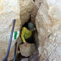Ausstieg oben am Kamin