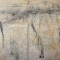 """""""Zeit und Raum 5"""", 2 tlg., Acryl auf Bw, 120 cm x 140 cm, 2001"""