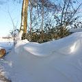 an der Schneewehe drücken wir uns vorbei