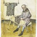 Eher flache Zange: Sarworter bei der Arbeit, Mendelsche Hausbücher (hier: 1473)