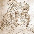 Bruche und Beinlinge eines stürzenden Reiters, Musterbuch fol. 6r